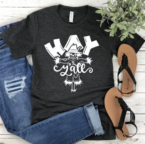 Hay Y'all Scarecrow Fall Unisex T-shirt - Scarecrow T-shirt - Fall T-shirt - Hay Y'all Shirt - Thanksgiving Tee