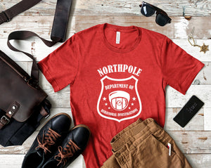 Northpole T-shirt - Department Of Behavioral Investigations - Men's Christmas Shirt - Christmas Humor - Dad Christmas Shirt