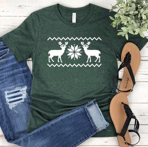 Christmas Sweater Unisex T-shirt - Reindeer Shirt - Christmas Shirt for Women - Graphic Tee - Christmas Tee