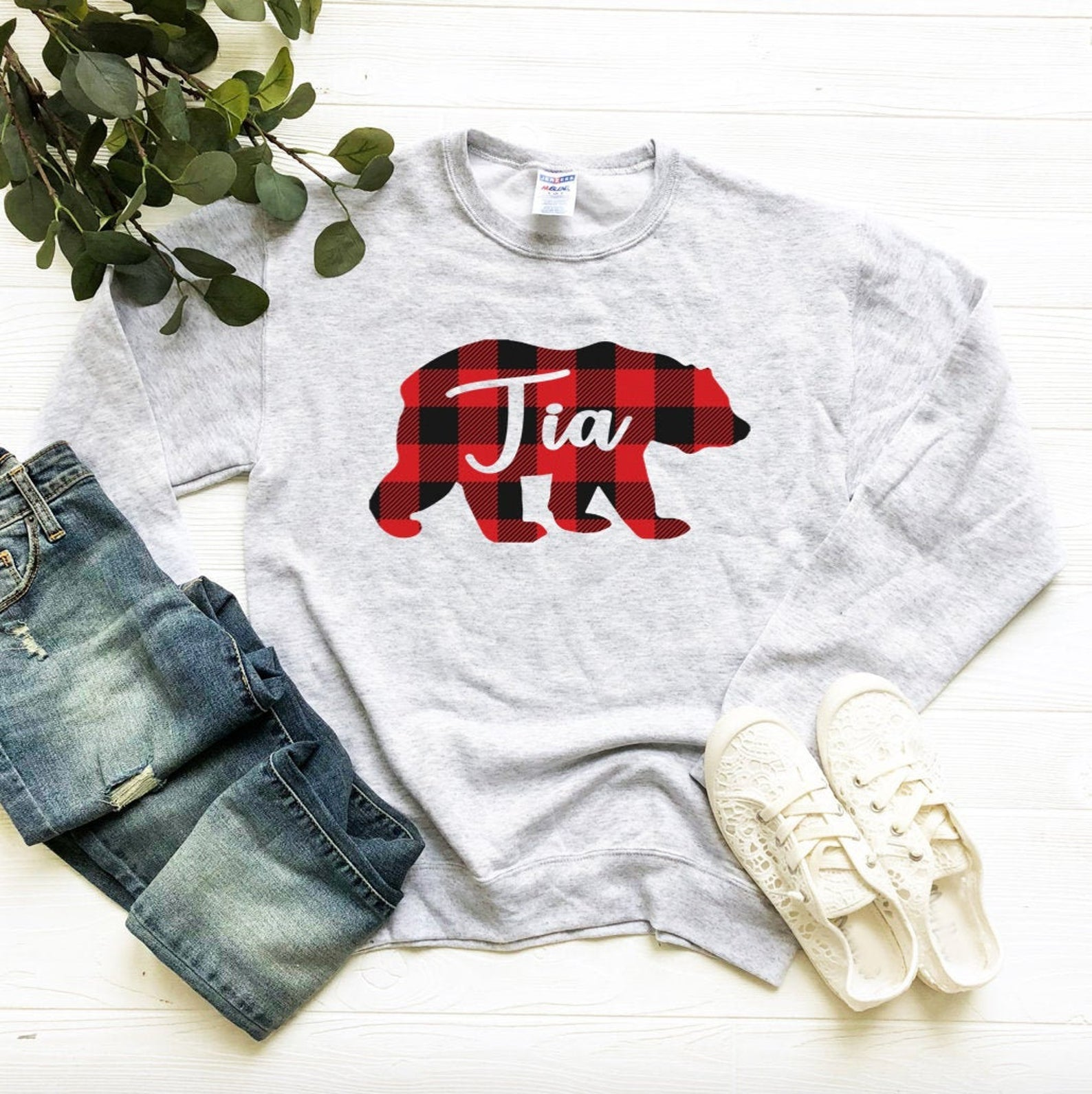 Tia Bear Plaid Unisex Sweatshirt - Tia Sweatshirt - Crew Neck Sweatshirt - Buffalo Check Plaid - Tia Christmas Fleece Sweatshirt