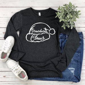 Grandma Christmas Long Sleeve T-shirt - Grandma Claus - Grandma Shirts - Family Christmas T-shirts - Matching Christmas T-shirts - Custom
