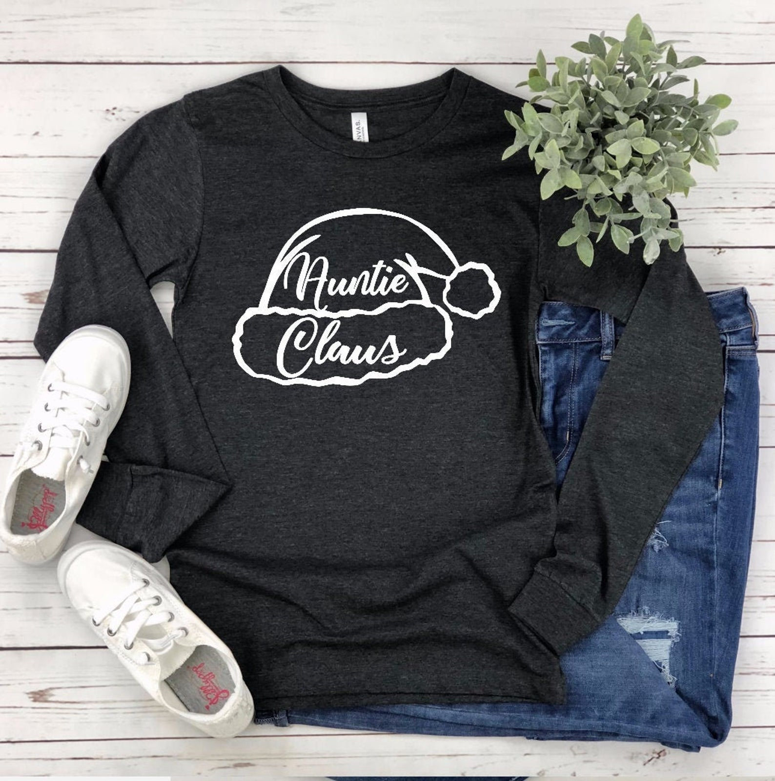 Aunt Christmas Long Sleeve T-shirt - Auntie Claus - Aunt Shirts - Family Christmas T-shirts - Matching Christmas T-shirts - Custom Christmas