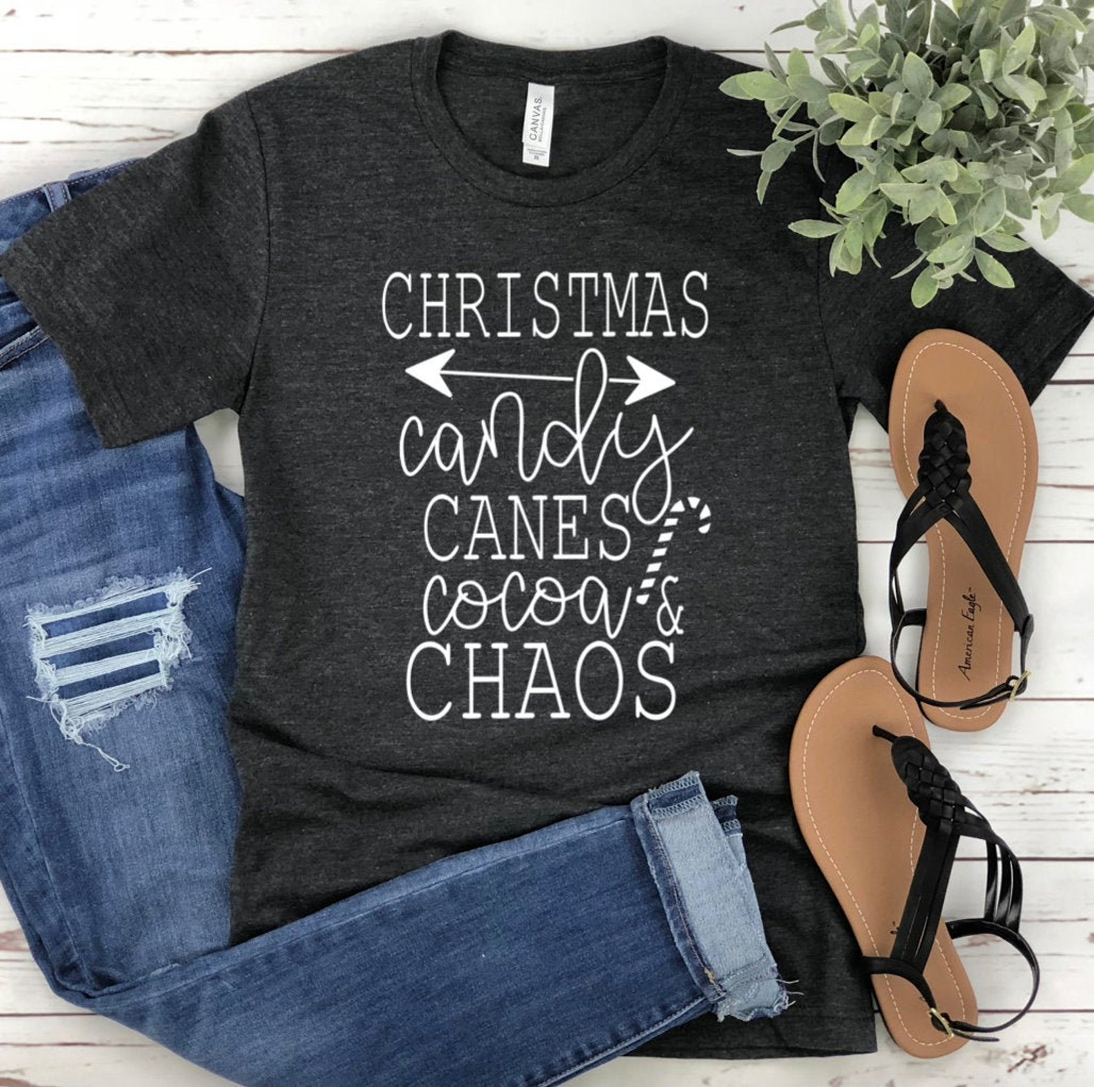 Christmas Candy Canes Cocoa Chaos Unisex T-shirt - Christmas Shirt for Women - Graphic Tee - Christmas Tee