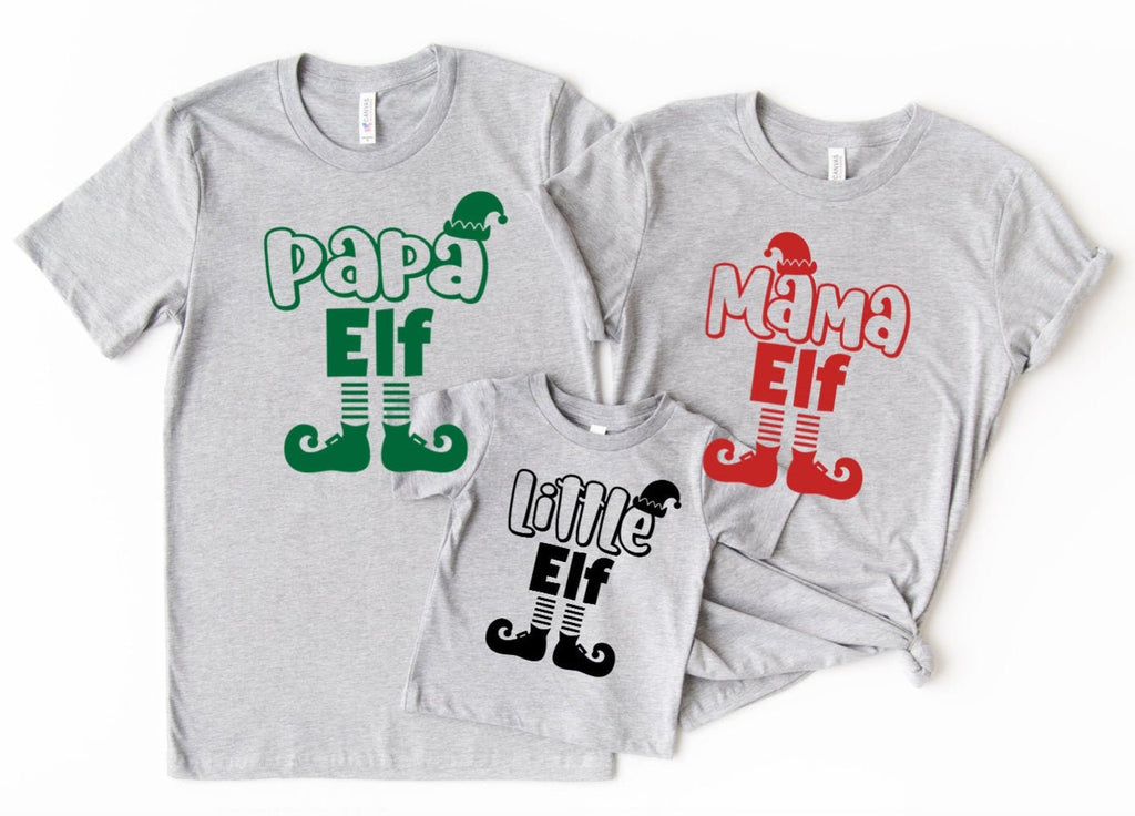 Family Christmas Shirts - Elf Shirts - Papa Elf - Mama Elf - Little Elf - Matching Christmas T-shirts - Daddy Elf - Baby Elf