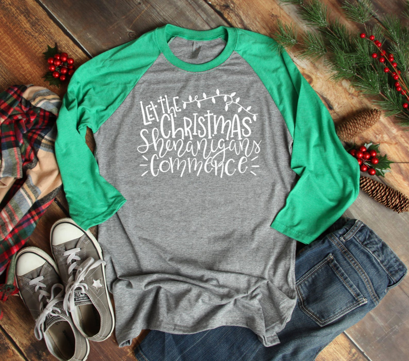 Let The Christmas Shenanigans Commence 3/4 Sleeve T-shirt - Christmas Shirt - Chaos T-shirt - Christmas Family Tee - Christmas T Shirt