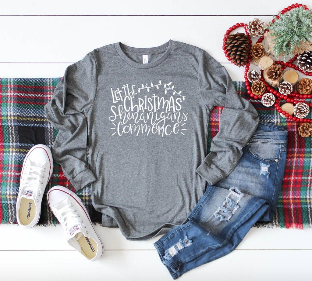 Let The Christmas Shenanigans Commence Unisex Long Sleeve T-shirt - Christmas Family Shirt - Christmas Chaos - Crazy Christmas - Party Tee