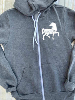 Auntie Unicorn Zip Up Hoodie - Hooded Jacket - Gift For Aunt - Aunt Unicorn T-shirt - Unicorn Family -  Mother's Day Gift - Auntie To Girls