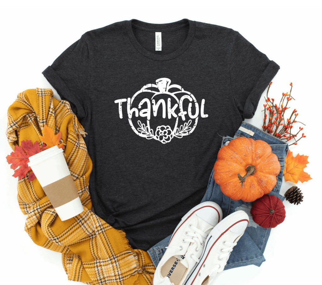 Thankful Floral Vintage Pumpkin Unisex T-shirt - Fall T-shirt - Pumpkin T-shirt - Thankful Shirt - Vintage Shirt - Fall Shirt