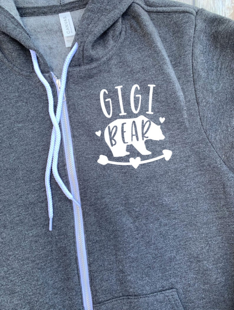 Gigi Bear Zip Up Hoodie - Hooded Jacket - Gift  For Gigi - Gigi T-shirt - Bear Family -  Gift For Grandma