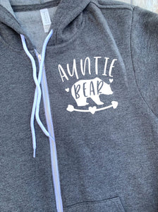 Auntie Bear Zip Up Hoodie - Hooded Jacket - Gift For Aunt - Auntie T-shirt - Bear Family -  Sister Gift