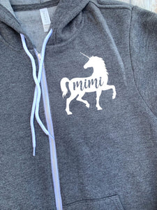 Mimi Unicorn Zip Up Hoodie - Hooded Jacket - Gift For Mimi - Mimi Unicorn T-shirt - Unicorn Family -  Mother's Day Gift - Mimi To Girls