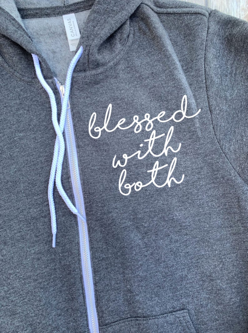 Blessed With Both Unisex Zip Up Hoodie - Mom Hoodie - Blessed Mom - Fleece Hoodie - Mom Of Multiples - Christmas Gift Mom