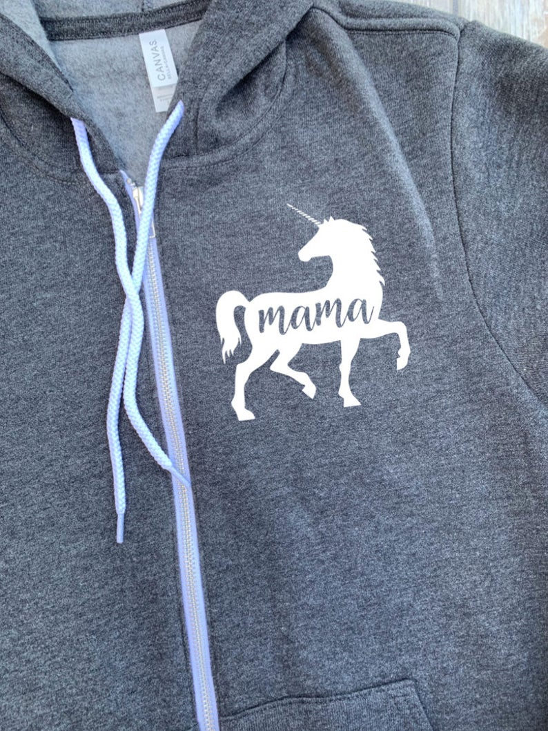 Mama Unicorn Zip Up Hoodie - Hooded Jacket - Gift For Mom - Mama Unicorn T-shirt - Unicorn Family -  Mother's Day Gift - Mom To Girls