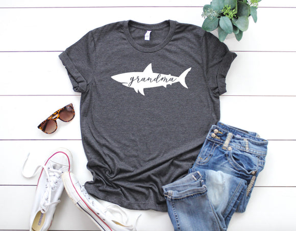 Grandma Shark Dark Heather Grey T-shirt