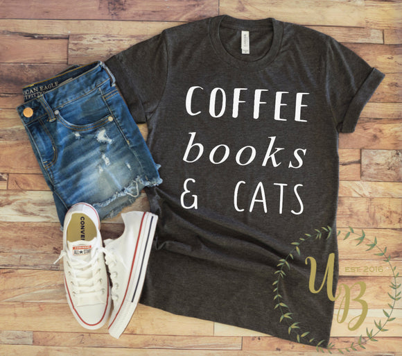 Coffee Books & Cats Unisex Adult T-Shirt