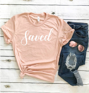 Saved Easter Shirt for Women - Heather Peach T