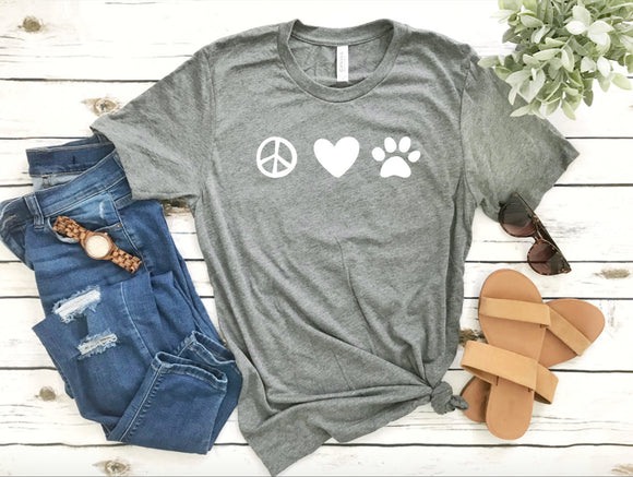Peace Love & Dogs Heather Grey Shirt - Dog Mom Shirts
