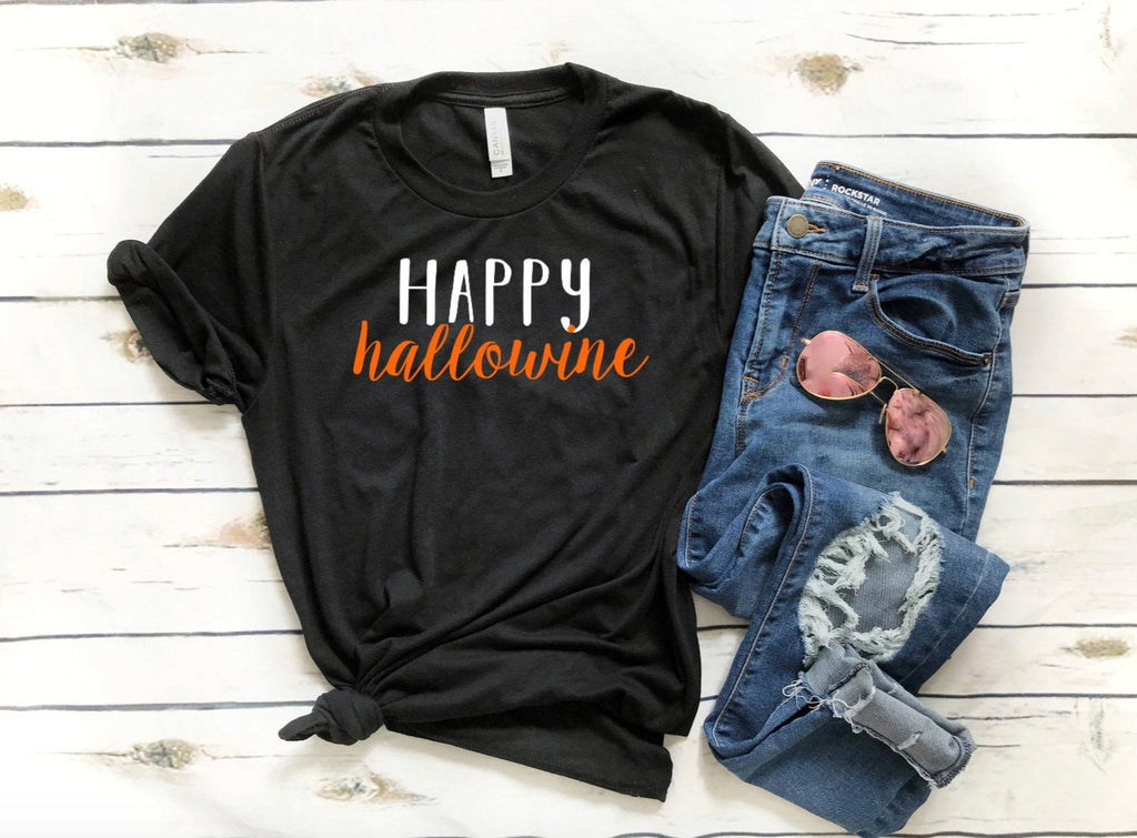 Cute Women's Halloween Shirt - Happy Hallowine - Unisex Fit - Funny Halloween Shirts