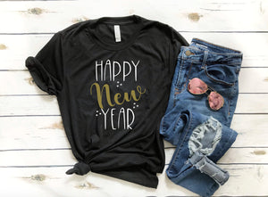 Happy New Year T-shirt - New Years T-shirts - Black and Gold - New Years Eve T-shirts - Custom New Year T-shirts