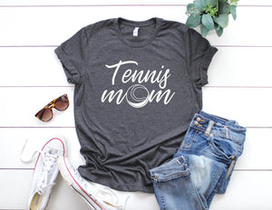 Tennis Mom Dark Heather Grey T-shirt - Mom Shirt - Tennis Family Shirts - Sports Mom - Mom Gift Idea