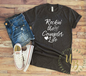 Rockin' the Counselor Life Dark Heather Grey T-shirt - School Counselor Shirt - Counselor T-shirts