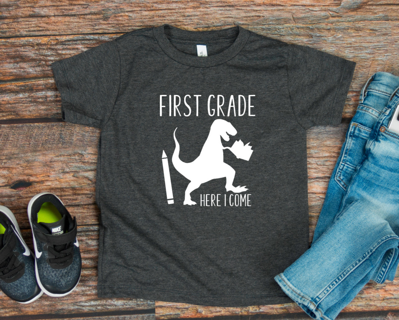 Boys Back to School T-shirt - Boys Dinosaur Shirt - Kindergarten - First Grade - Second - Third -
