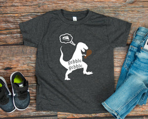 Boys Thanksgiving T-shirt - Boys Dinosaur Shirt - Gobble Gobble Shirt - Cute Boys Shirts - Infant - Toddler - Youth