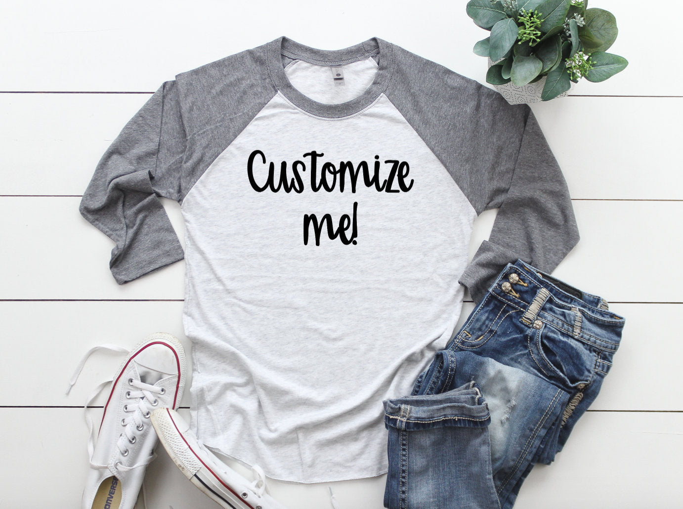 Custom 3/4 Sleeve T-shirt - Customized Shirt - Custom Raglans - Custom Grey Shirts - Custom Grey Raglans - Women's - Men's - Unisex - Adult