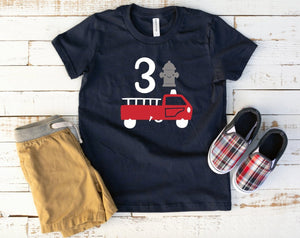 Toddler Boys Firetruck Birthday Shirt - 3rd Birthday Shirt - Third Birthday Party Shirt - Firetruck Birthday - Firetruck Shirts