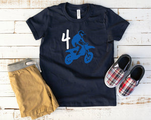 Toddler Boys Dirt Bike Birthday Shirt - 4th Birthday Shirt - Fourth Birthday Party Shirt - Dirt Bike Birthday - Motocross Shirts