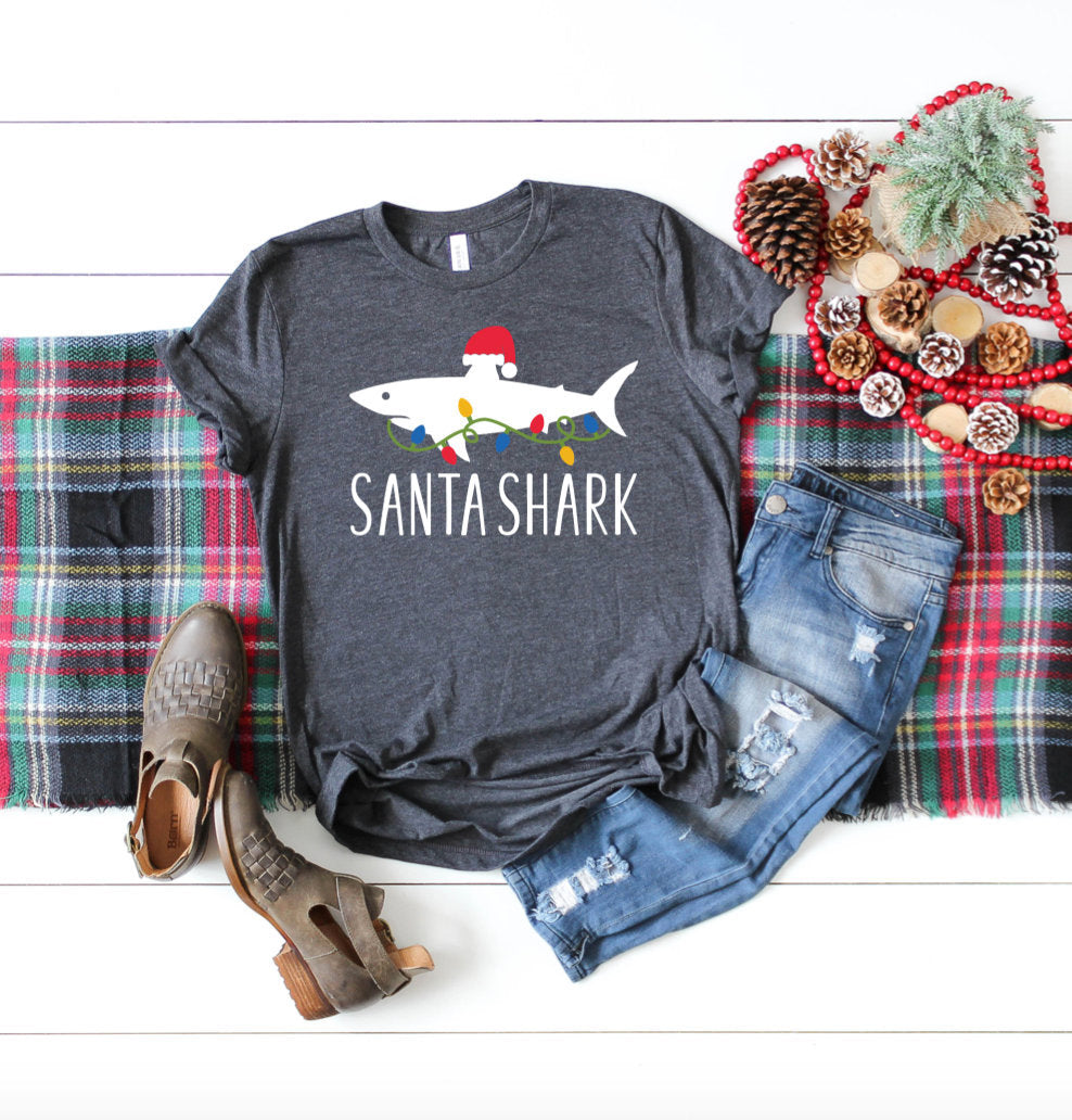 Santa Shark T-shirt - Unisex Adult - Toddler - Youth