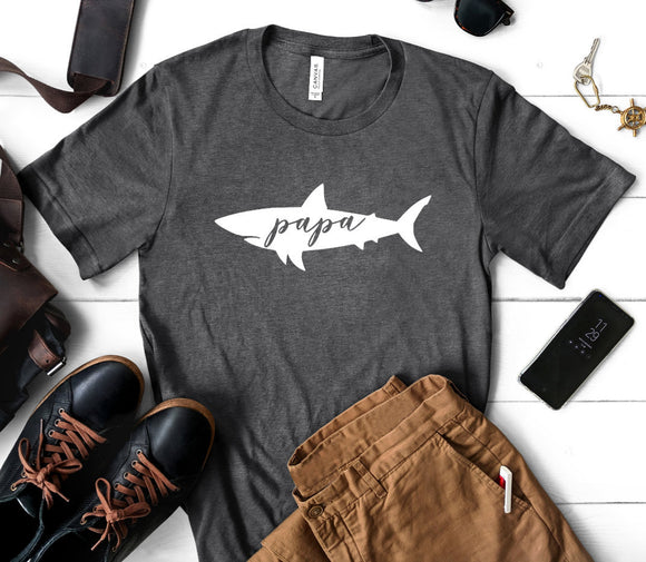 Papa Shark Dark Heather Grey T-shirt
