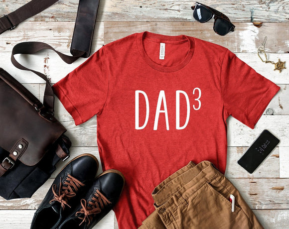 Dad of Three Heather Red T-shirt
