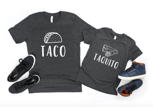 Taco Taquito Father Son Matching T-Shirts - Dad Shirts - Funny Dad Shirts - Father's Day Gifts