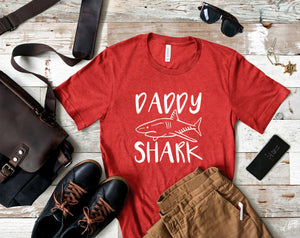 Daddy Shark Heather Red T-shirt - Dad Shark Shirt - Daddy Shirts - Men's Shirts - Father's Day Gift - Gift for Dad