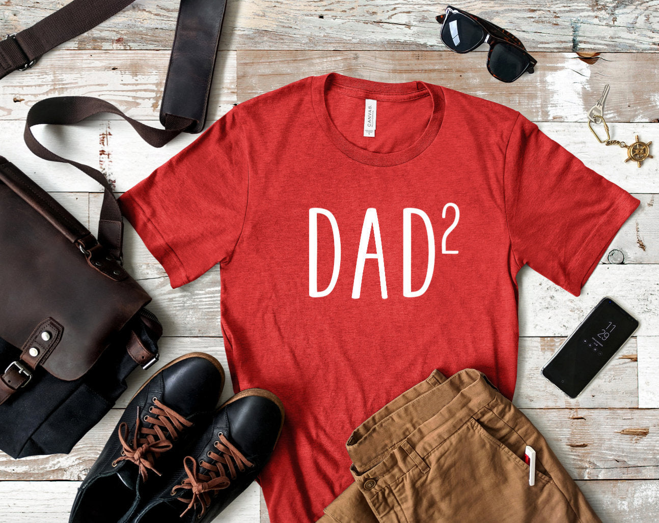 Dad of Two Heather Red T-shirt - Dad 2 Shirt - Dad Shirts - Men's Shirts - Father's Day Gift - Gift for Dad