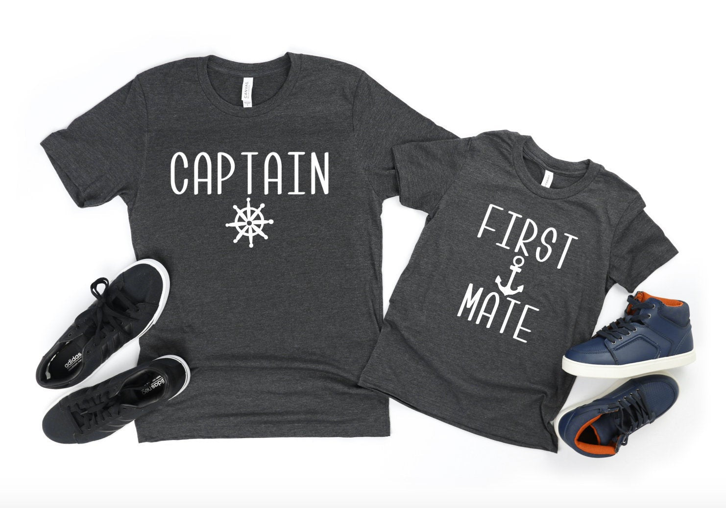 Captain First Mate Father Son Matching T-Shirts - Dad Shirts - Funny Dad Shirts - Father's Day Gifts