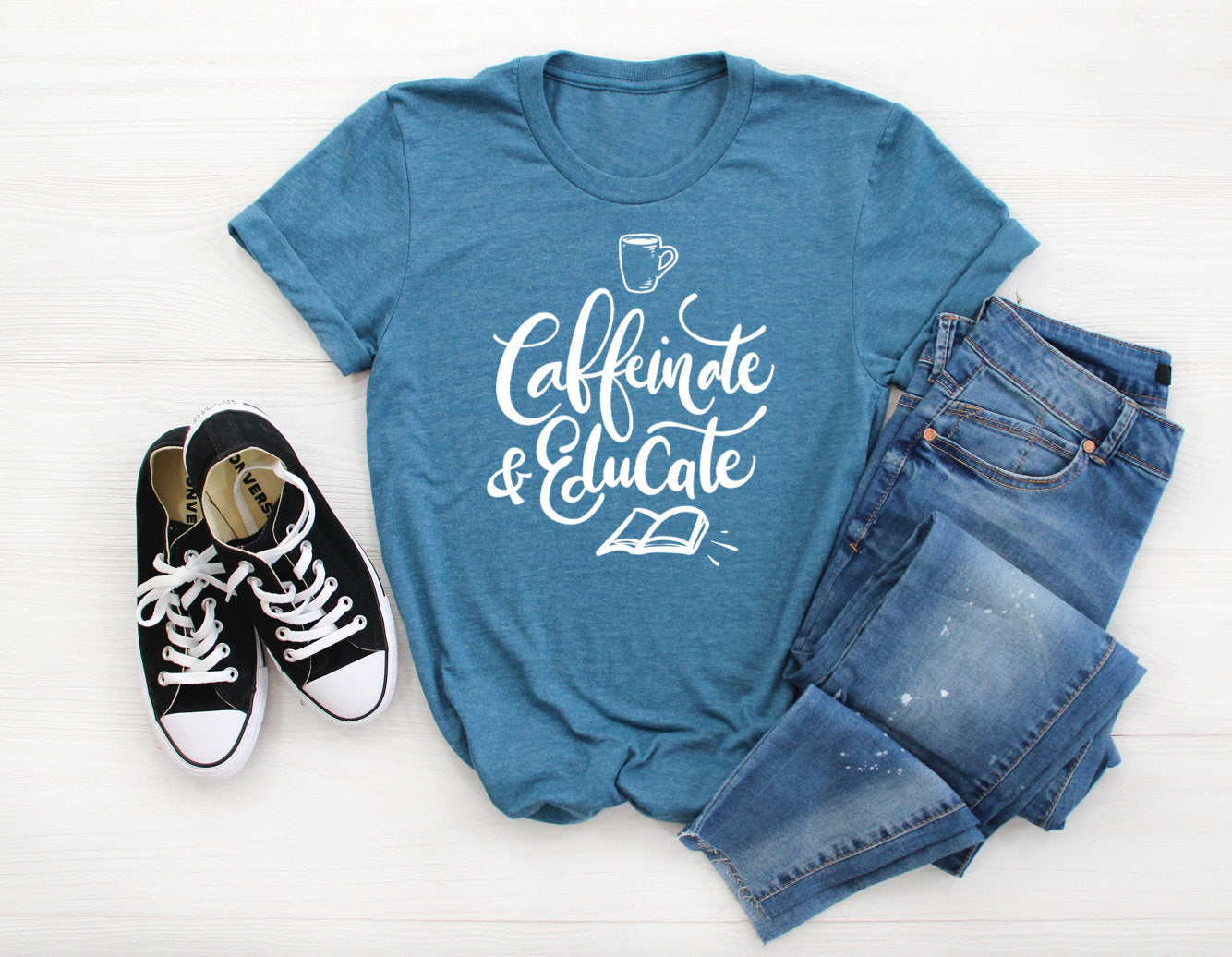 Caffeinate & Educate Unisex T-Shirt - Teacher T-shirt - Coffee Teacher Tee - Gift for Teacher - Cute Teacher T-shirt
