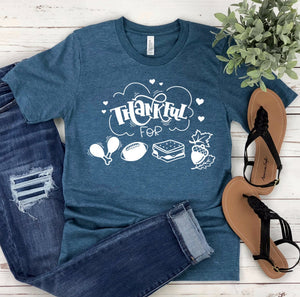 Thankful For Turkey Football Smores Fall Unisex T-shirt - Thankful T-shirt - Fall T-shirt - Football Shirt - Thanksgiving Tee