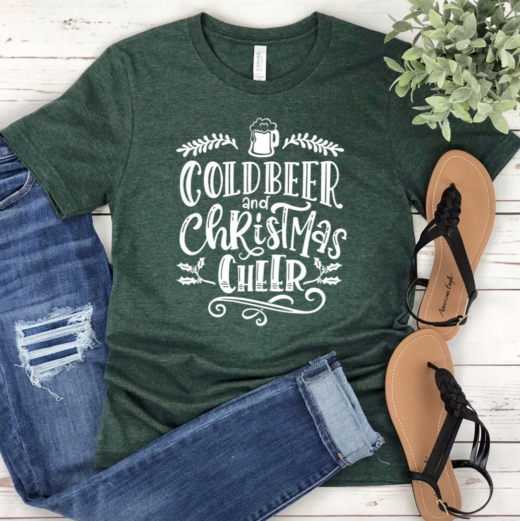 Cold Beer And Christmas Cheer Unisex T-shirt - Christmas Party Shirt - Christmas Tees - Green Christmas Shirt