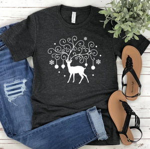 Reindeer Unisex Christmas T-shirt - Christmas Shirt for Women - Graphic Tee - Christmas Tee