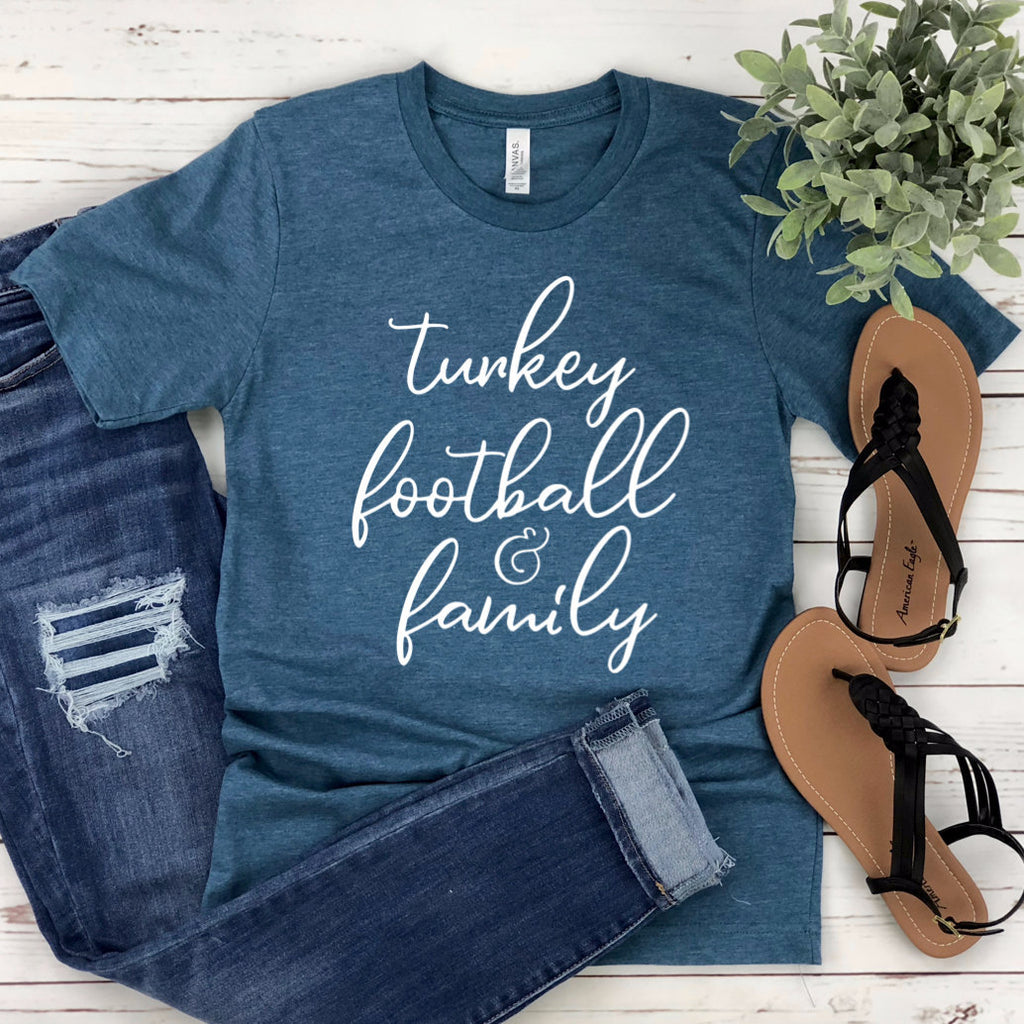 Turkey Football & Family Unisex T-shirt - Turkey T-shirt - Football T-shirt - Family Shirt - Thanksgiving Tee - Thanks + Giving Shirt