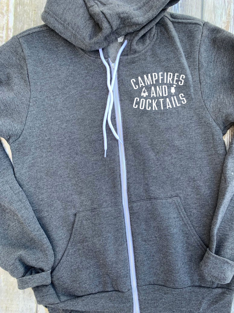 Campfires And Cocktails Unisex Zip Up Hoodie - Camping Hooded Jacket - Camping Tribe - Family Trip - Fleece Hoodies - Camping Squad