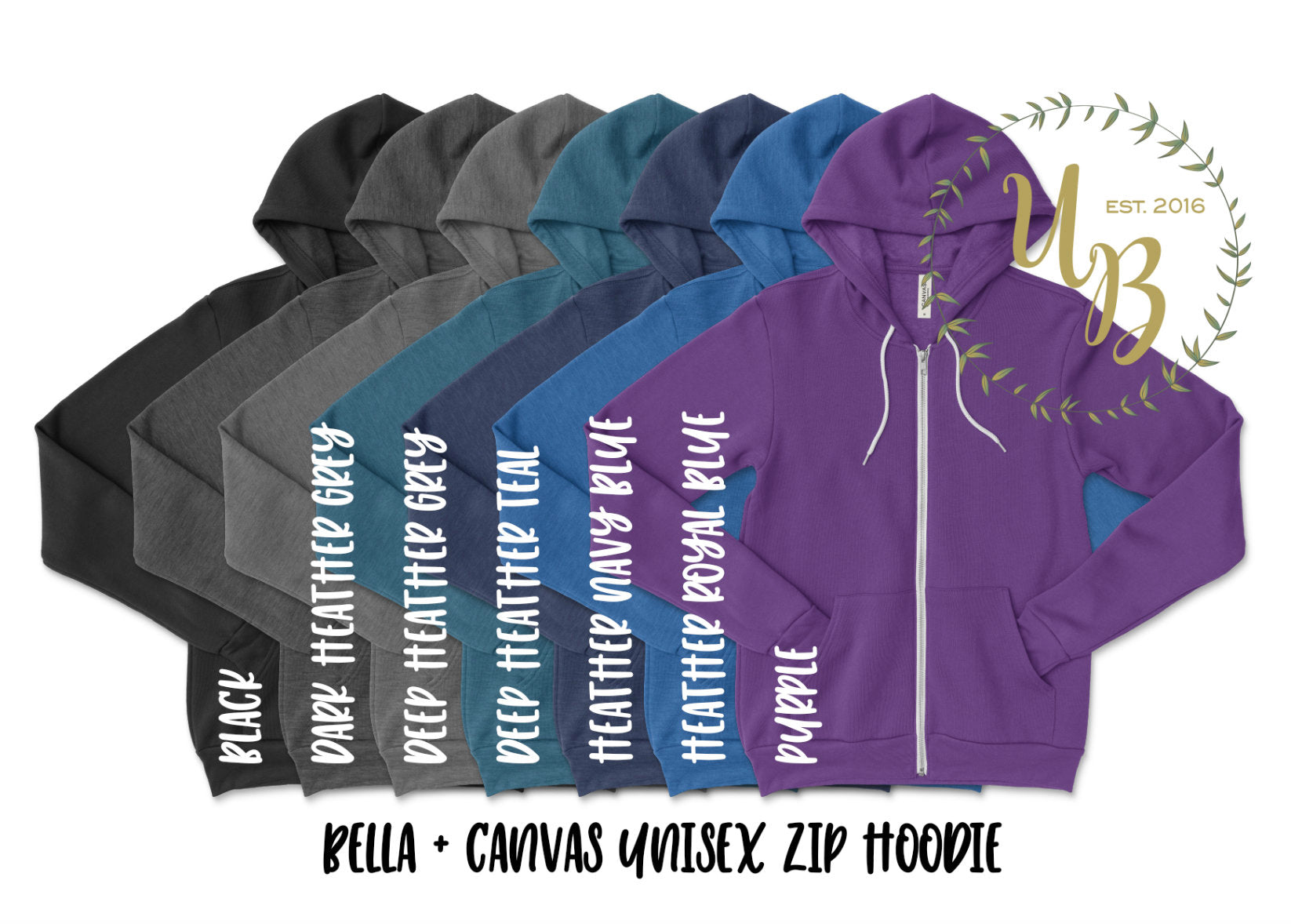 Custom Adult Unisex Zip Up Hoodie - Customized Hooded Jacket - Personalized Unisex Hoodie - Personalized Logo Hoodie