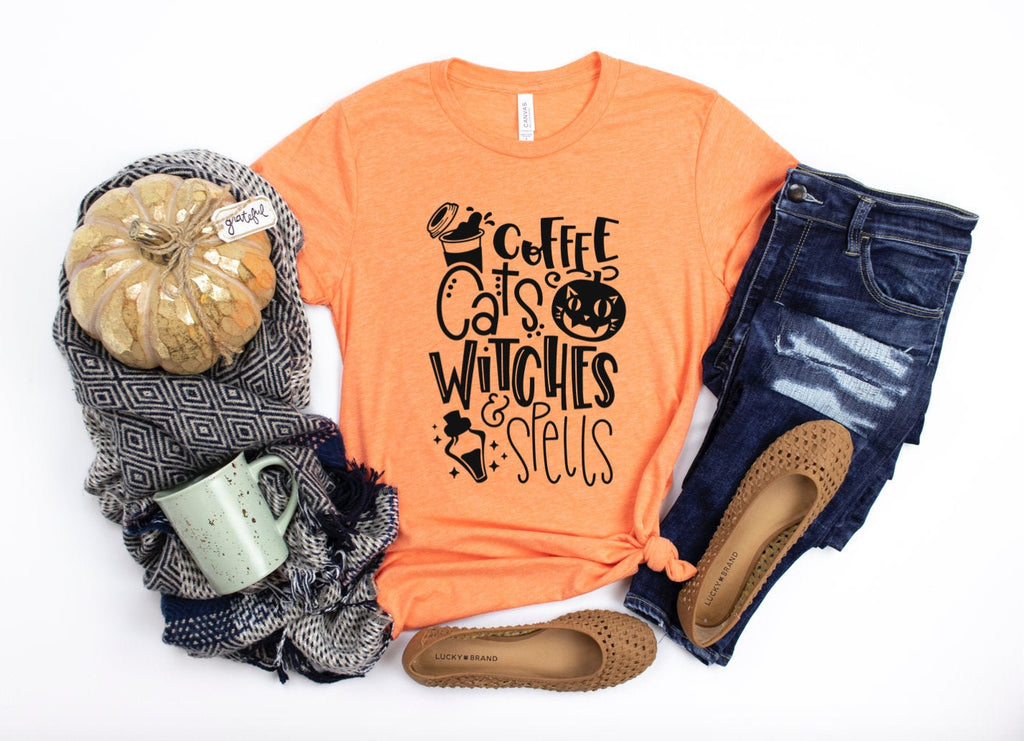 Coffee Cats Witches & Spells Halloween T-shirt - Women's Halloween Shirt - Halloween Party Shirt - Orange And Black - Halloween Vibes