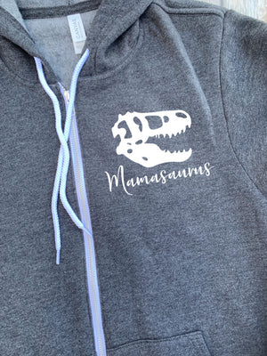 Mama Saurus Zip Up Hoodie - Hooded Jacket - Gift For Mom - Mama Dinosaur T-shirt - Dino Family -  Mother's Day Gift - Dinosaur Mom Hoodie