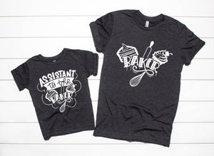 Baker - Assistant To The Baker  - Grandma And Grandchild Matching T-Shirts - Mom Shirts - Christmas Baking Shirt Set