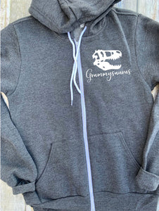 Grammy Saurus Zip Up Hoodie - Hooded Jacket - Gift For Grandma - Grammy T-shirt - Dinosaur Family -  Grammysaurus Hoodie