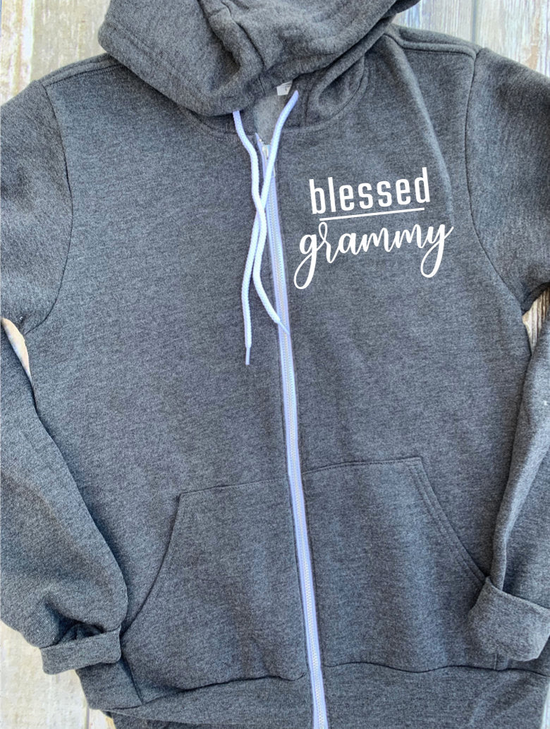 Blessed Grammy Zip Up Hoodie - Hooded Jacket - Gift For Grandma - Blessed Hoodie - Blessed Grammy - Grammy Christmas Gift