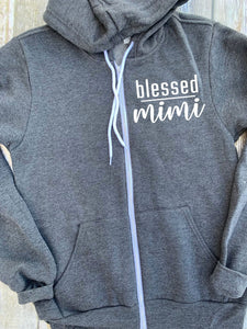 Blessed Mimi Zip Up Hoodie - Hooded Jacket - Gift For Mimi - Blessed Hoodie - Blessed Mimi - Mimi Christmas Gift